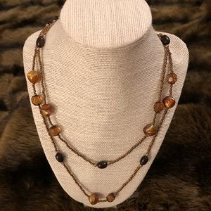 Tiered brown beaded necklace